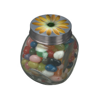 Yellow Daisy on Grey Leather Print Glass Candy Jar