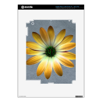 Yellow Daisy on Grey Leather Print Skin For iPad 3