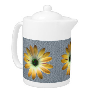 Yellow Daisy on Grey Leather texture