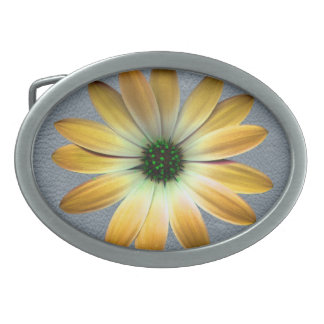 Yellow Daisy on Grey Leather Texture Belt Buckles