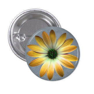 Yellow Daisy on Grey Leather Texture Pinback Button