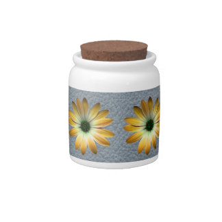Yellow Daisy on Grey Leather texture Candy Dishes