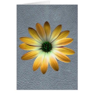 Yellow Daisy on Grey Leather Texture Greeting Cards