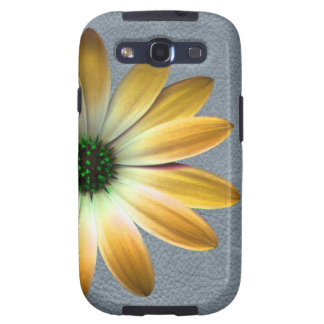 Yellow Daisy on Grey Leather Texture Samsung Galaxy S3 Cover