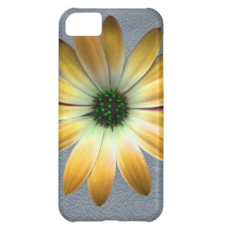Yellow Daisy on Grey Leather Texture Cover For iPhone 5C