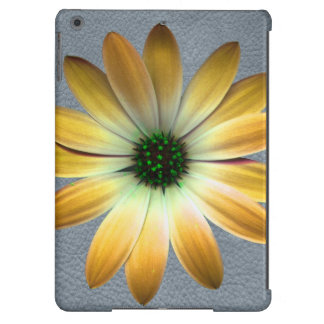 Yellow Daisy on Grey Leather Texture iPad Air Covers