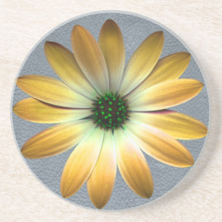 Yellow Daisy on Grey Leather Texture Beverage Coaster