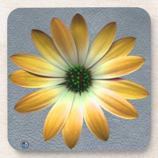 Yellow Daisy on Grey Leather Texture Beverage Coasters