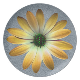 Yellow Daisy on Grey Leather texture Dinner Plate
