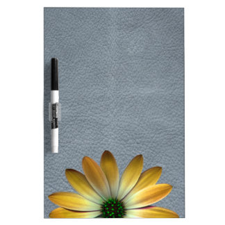 Yellow Daisy on Grey Leather texture Dry Erase White Board