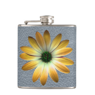 Yellow Daisy on Grey Leather Texture Flasks