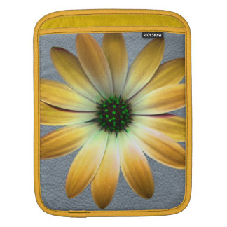Yellow Daisy on Grey Leather Texture Sleeves For iPads