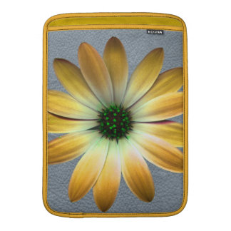 Yellow Daisy on Grey Leather Texture Sleeves For MacBook Air