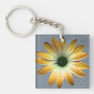 Yellow Daisy on Grey Leather Texture Acrylic Keychains
