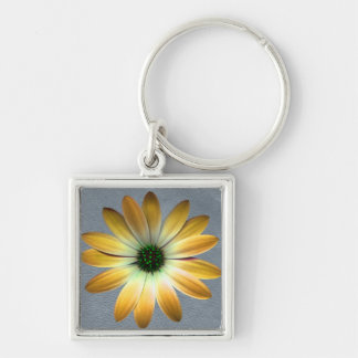 Yellow Daisy on Grey Leather Texture Keychains