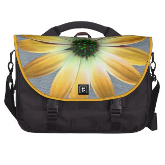 Yellow Daisy on Grey Leather Texture Laptop Bag