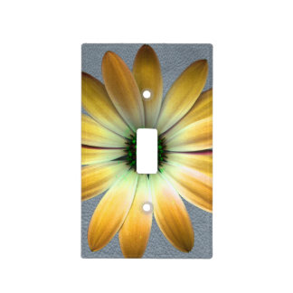 Yellow Daisy on Grey Leather Texture Light Switch Plate