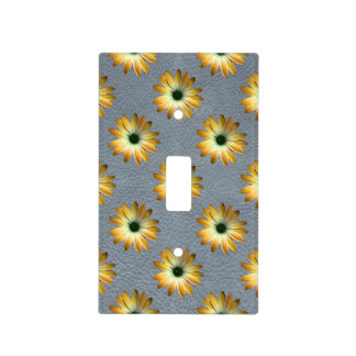 Yellow Daisy on Grey Leather Texture Light Switch Cover