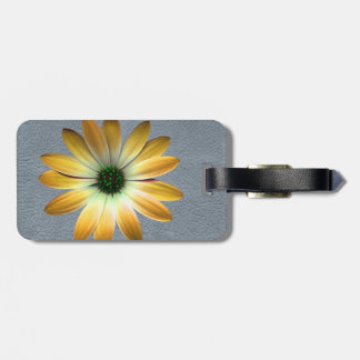 Yellow Daisy on Grey Leather Texture Travel Bag Tags