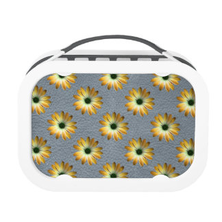 Yellow Daisy on Grey Leather Texture Lunch Box