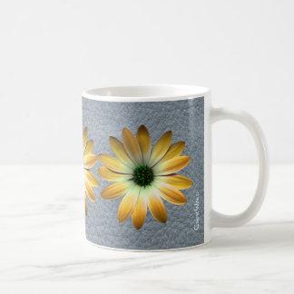 Yellow Daisy on Grey Leather texture Mug