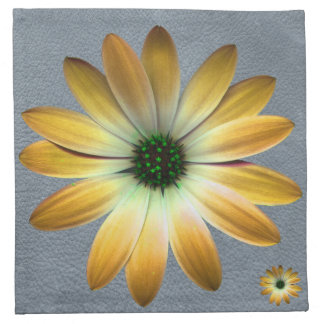 Yellow Daisy on Grey Leather texture Printed Napkin