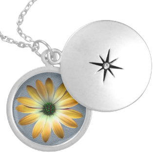 Yellow Daisy on Grey Leather Texture Custom Necklace