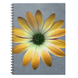 Yellow Daisy on Grey Leather Texture Spiral Notebook