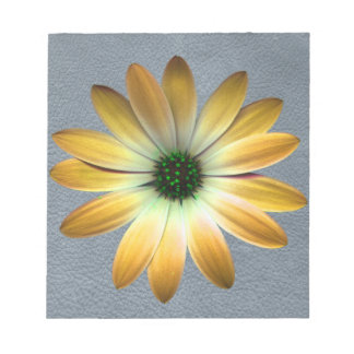 Yellow Daisy on Grey Leather Texture Memo Note Pads
