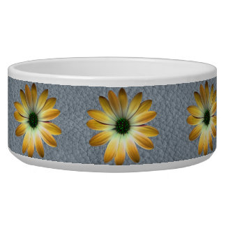 Yellow Daisy on Grey Leather texture Pet Food Bowls