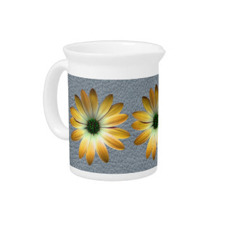 Yellow Daisy on Grey Leather texture Pitcher