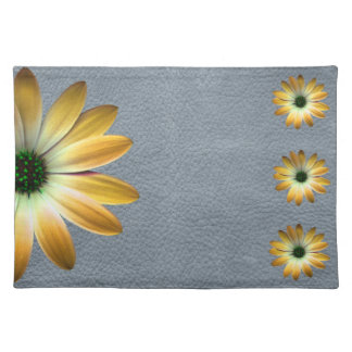 Yellow Daisy on Grey Leather texture Placemat