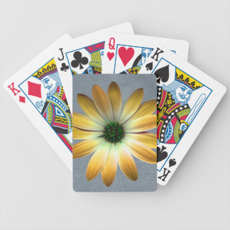 Yellow Daisy on Grey Leather Texture Bicycle Playing Cards