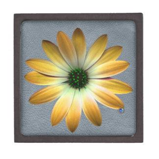 Yellow Daisy on Grey Leather Texture Premium Trinket Box
