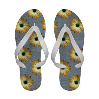 Yellow Daisy on Grey Leather Texture Sandals