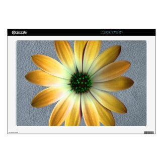 """Yellow Daisy on Grey Leather Texture 17"""" Laptop Decals"""