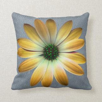 Yellow Daisy on Grey Leather texture Throw Pillows