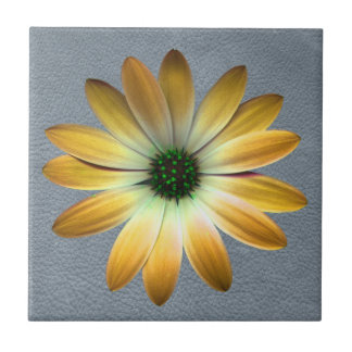 Yellow Daisy on Grey Leather texture Tiles