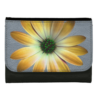 Yellow Daisy on Grey Leather Texture Wallet