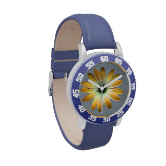 Yellow Daisy on Grey Leather Texture Watches
