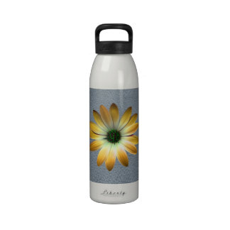 Yellow Daisy on Grey Leather texture Water Bottle