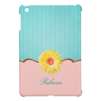 Yellow Daisy on Pink & Teal Personalized iPad Mini Covers