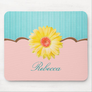 Yellow Daisy on Pink & Teal Personalized Mouse Pad
