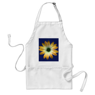 Yellow Daisy on Royal Blue leather Print Aprons