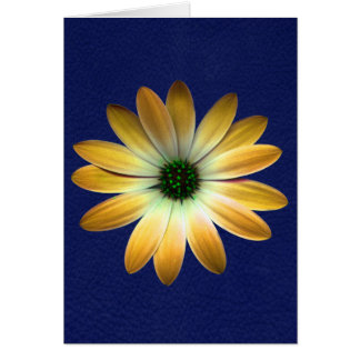 Yellow Daisy on Royal Blue leather Print Greeting Card