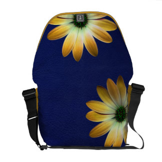 Yellow Daisy on Royal Blue leather Print Courier Bag