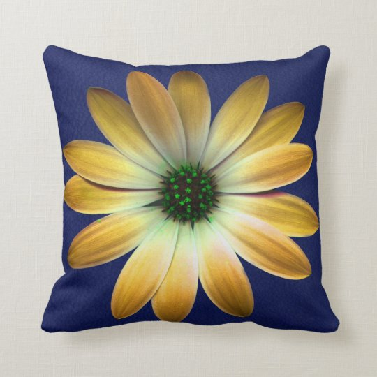 Yellow Daisy on Royal Blue leather Print Throw Pillow