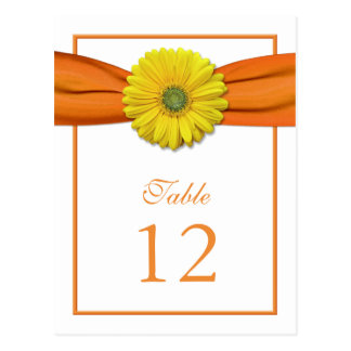 Yellow Daisy Orange Ribbon Table Number Card
