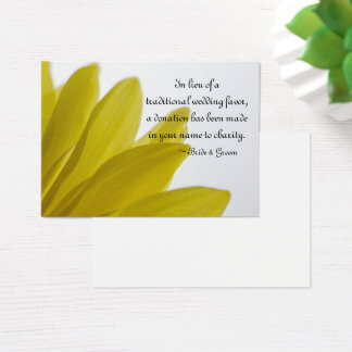 Yellow Daisy Petals Wedding Charity Favor Card
