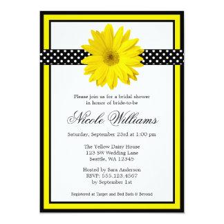 """Yellow Daisy Polka Dots Bridal Shower Invitations 5"""" X 7"""" Invitation Card"""